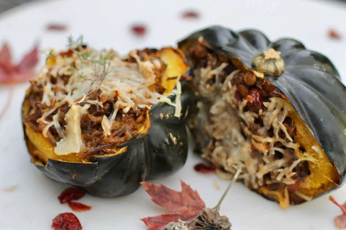 Stuffed squash with lentils, cranberries and wild rice (a Midwestern twist)